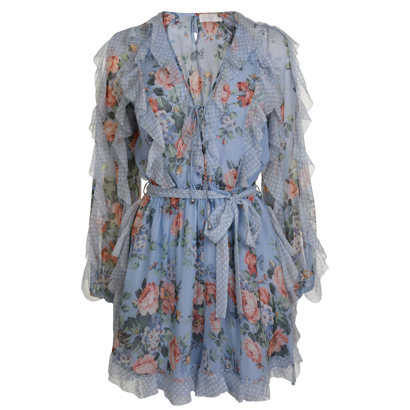 e994d39338b Lyst - Zimmermann Bowie Floral Playsuit in Blue