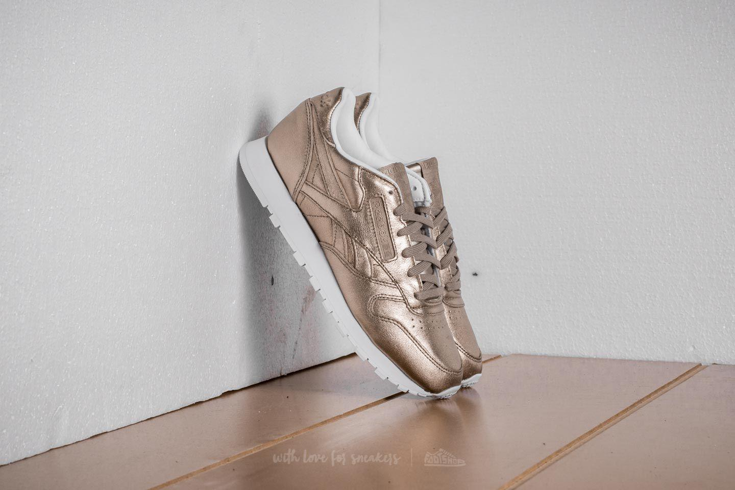 bbec6ba0565cb5 Lyst - Reebok Leather Melted Metal Pearl Met-grey Gold  White in Gray