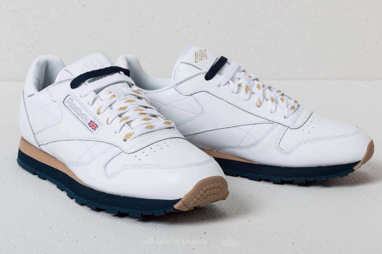 3b7c05535305 Lyst - Reebok Reebok X Beams Classic Leather White  Gold Metallic ...