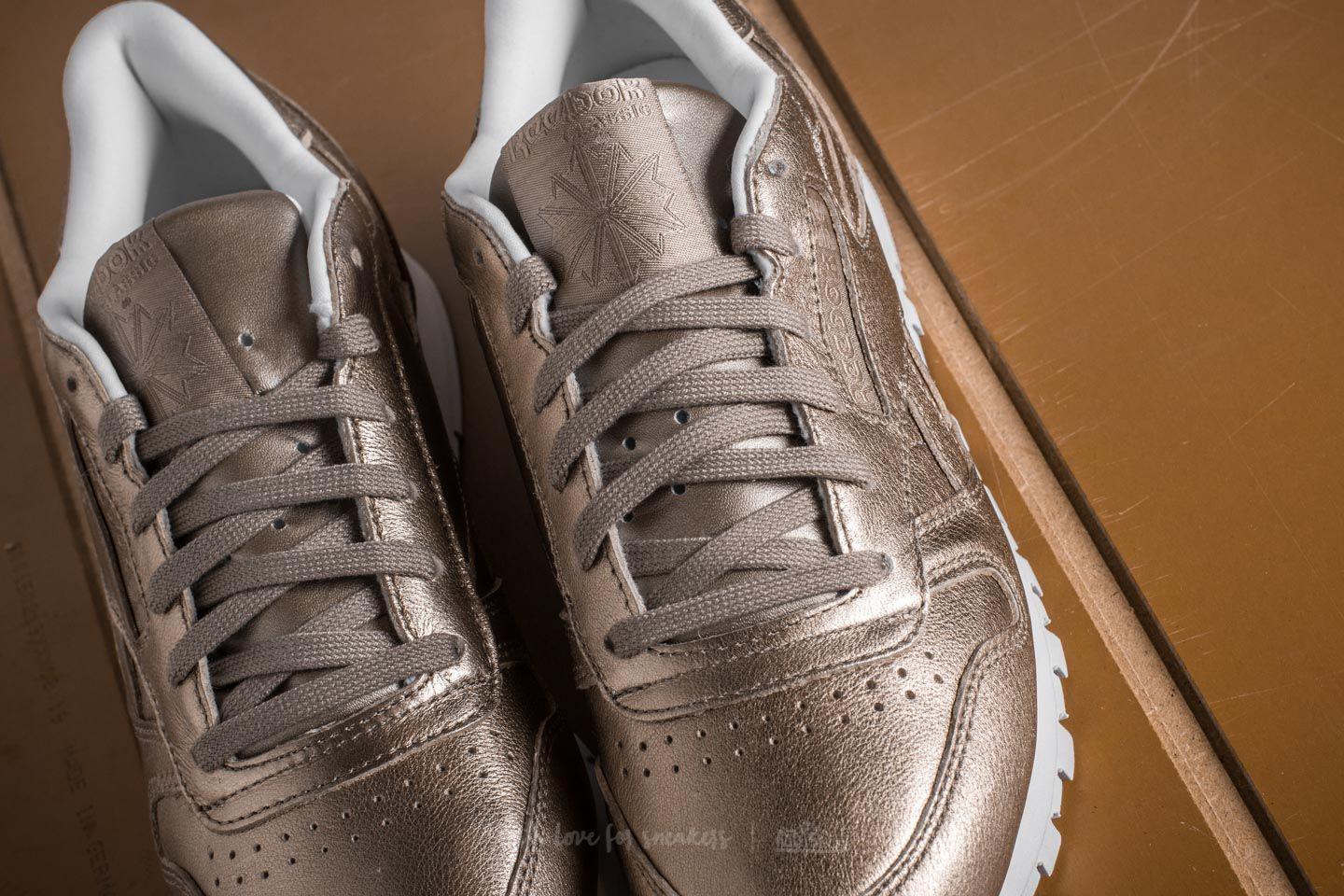 83e59f29862 Lyst - Reebok Leather Melted Metal Pearl Met-grey Gold  White in Gray