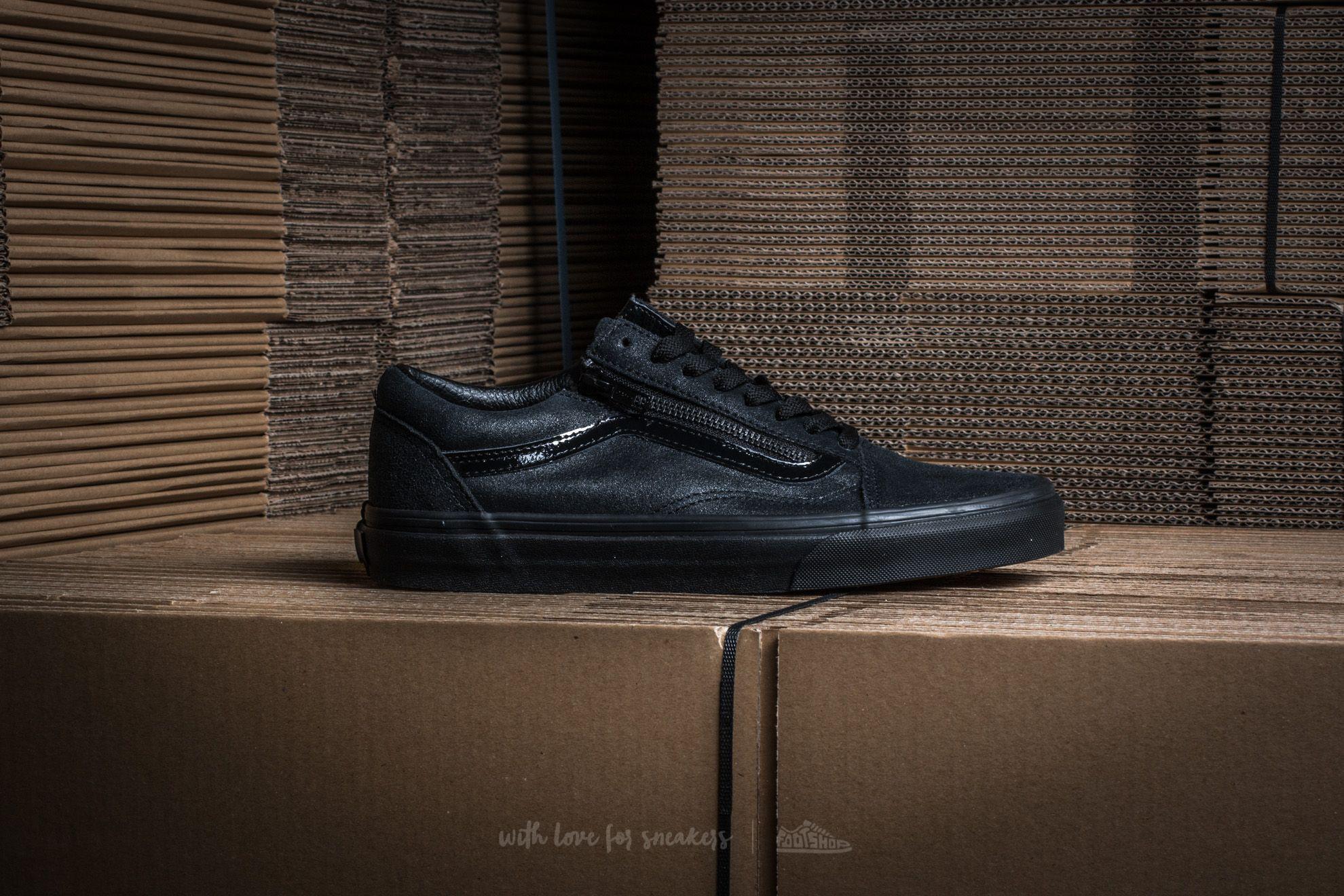 298295adf6 Lyst - Vans Old Skool Zip (patent Crackle) Black  Black in Black for Men
