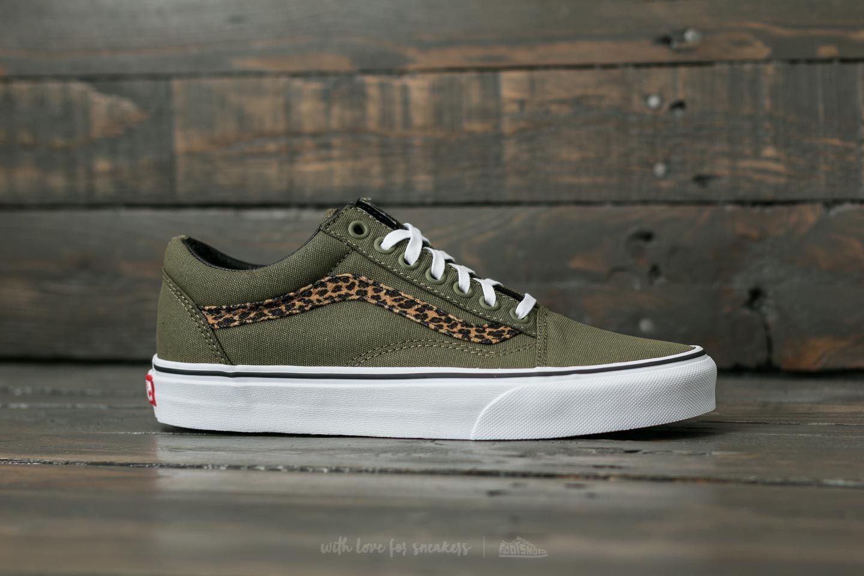 8e4f3f53f40241 Lyst - Vans Old Skool (mini Leopard) Army Green  True White in Green ...