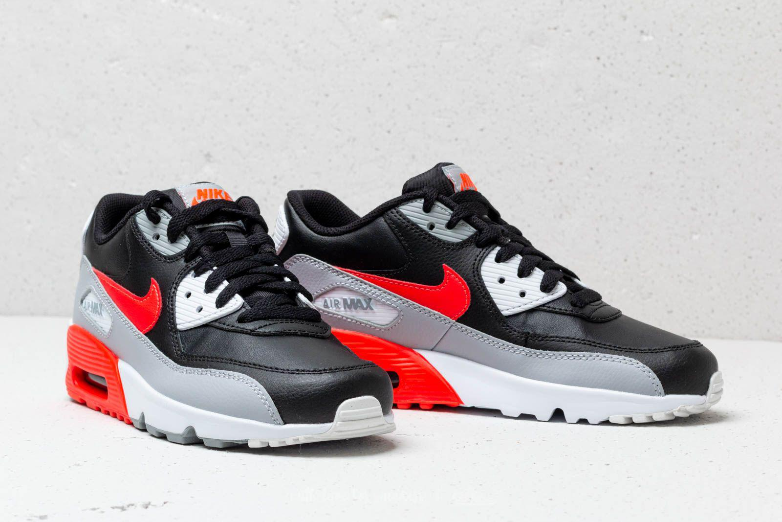 442d2744181d Lyst - Nike Air Max 90 Leather (gs) Wolf Grey  Bright Crimson-black ...