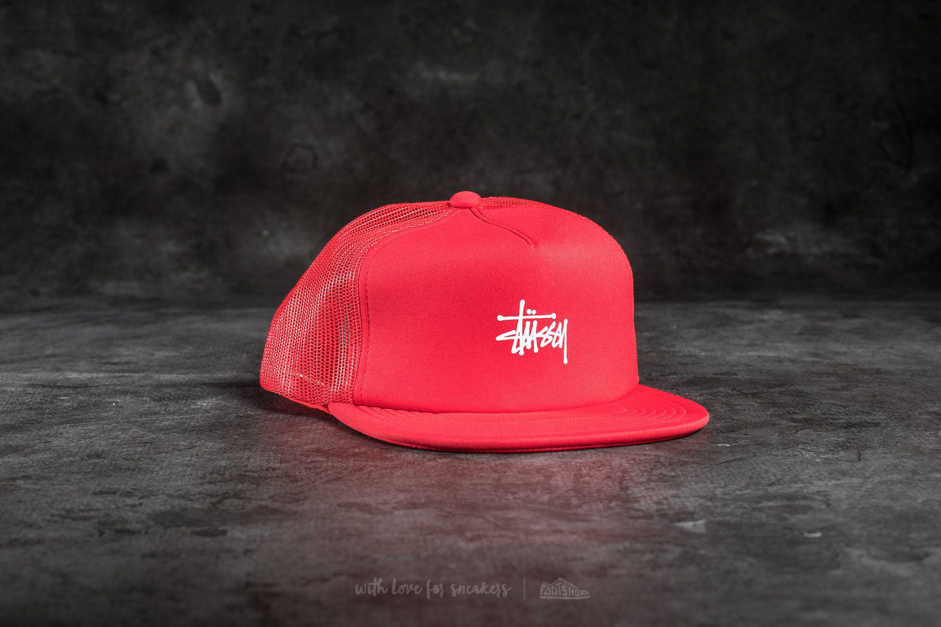 38971dc90fa Lyst - Stussy Puff Print Stock Trucker Cap Red in Red for Men