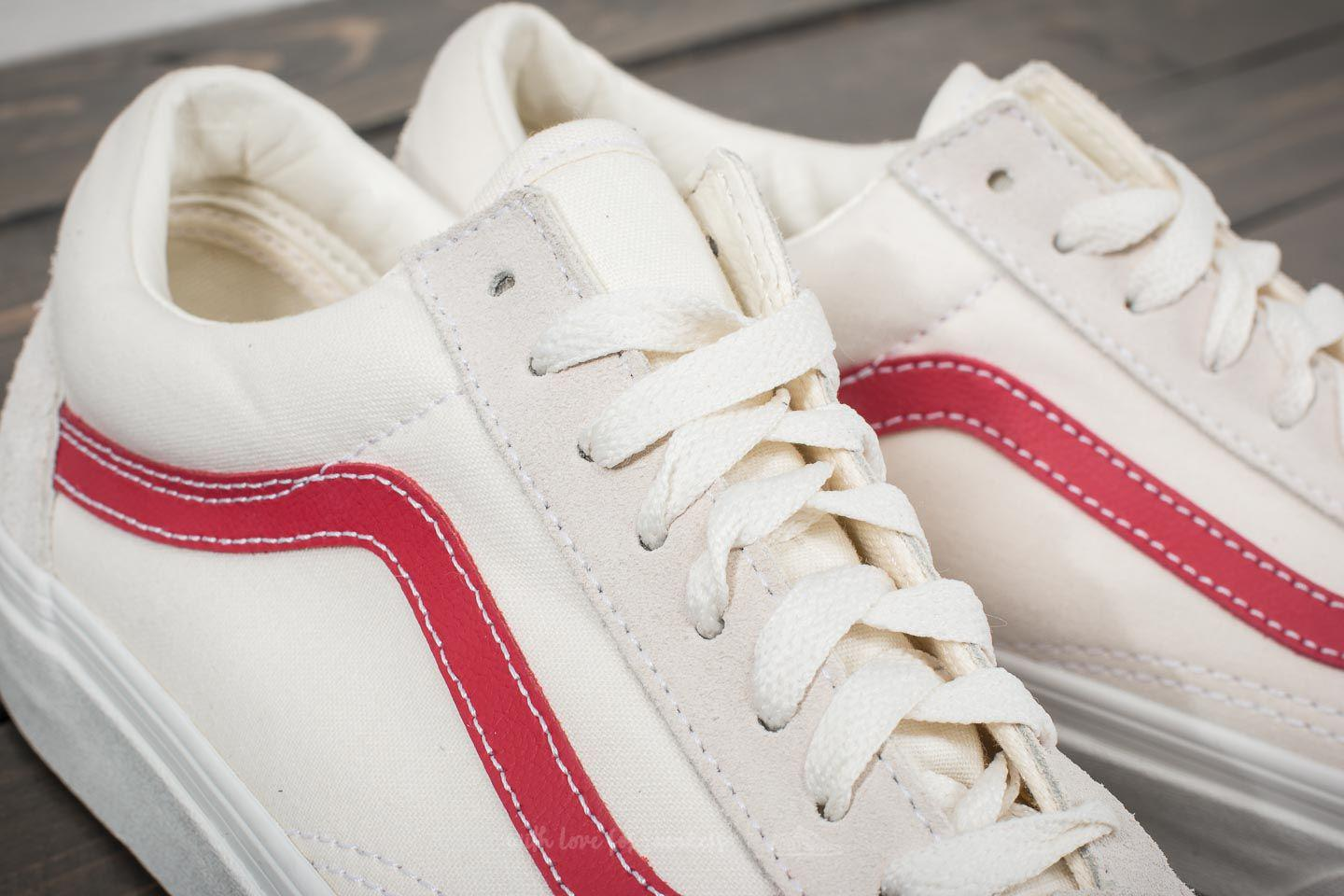 Lyst - Vans Old Skool Vintage White  Rococco Red in White for Men 7c5a5acf21