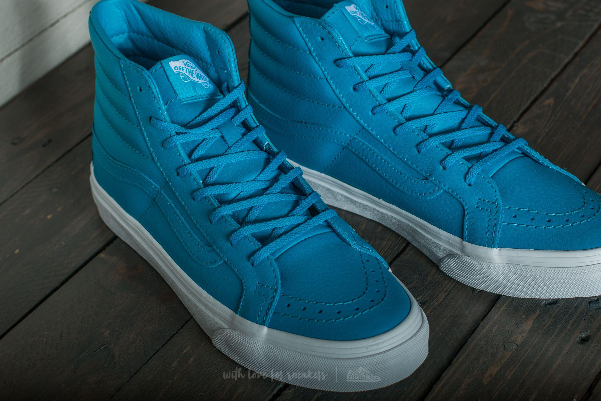 8b9f1601a39a69 Lyst - Vans Sk8-hi Slim (neon Leather) Neon Blue in Blue for Men