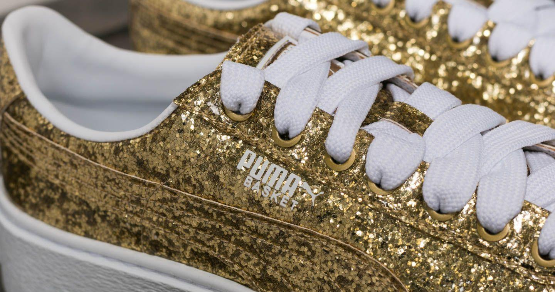 94a76c0f95aaf3 Lyst - PUMA Basket Platform Glitter Wn s Gold-gold in Metallic
