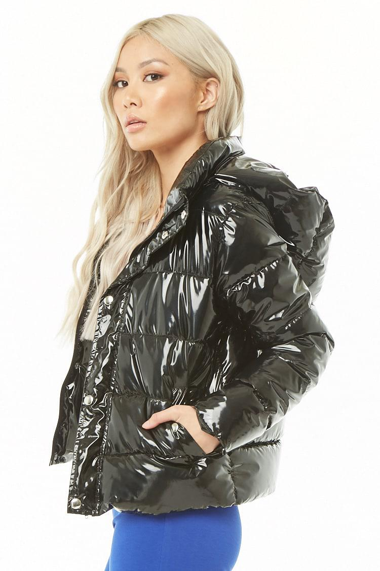 los angeles search for newest latest fashion Forever 21 Black Faux Patent Leather Puffer Jacket