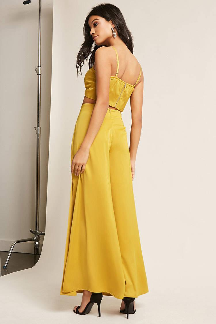 65ee0f4cf6 Forever 21 Satin Crop Top & Vented Pants Set in Yellow - Lyst