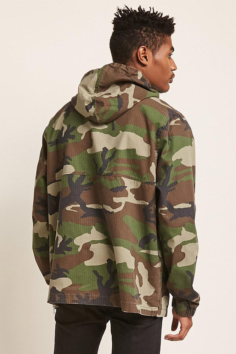 f6cb5901a1473 Forever 21 's Hooded Camo Print Anorak Jacket in Green for Men - Lyst