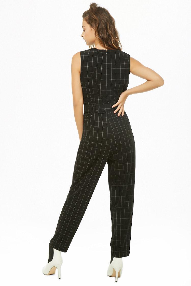 24fd1e2e73e ... Black Vero Moda Grid Print Jumpsuit - Lyst. View fullscreen