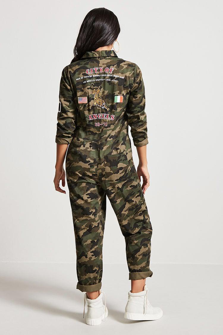 Forever 21 City Of Angels Camo Jumpsuit Lyst