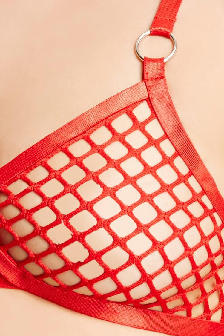 4e5522e2b4 Lyst - Forever 21 Sheer Fishnet Bralette in Red