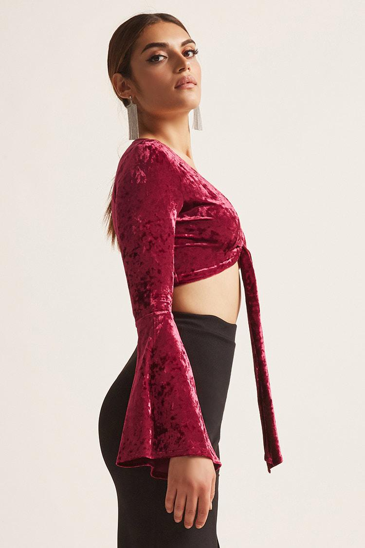 ... Red Women s Velvet Tie-front Crop Top - Lyst. View fullscreen 30ade35c0