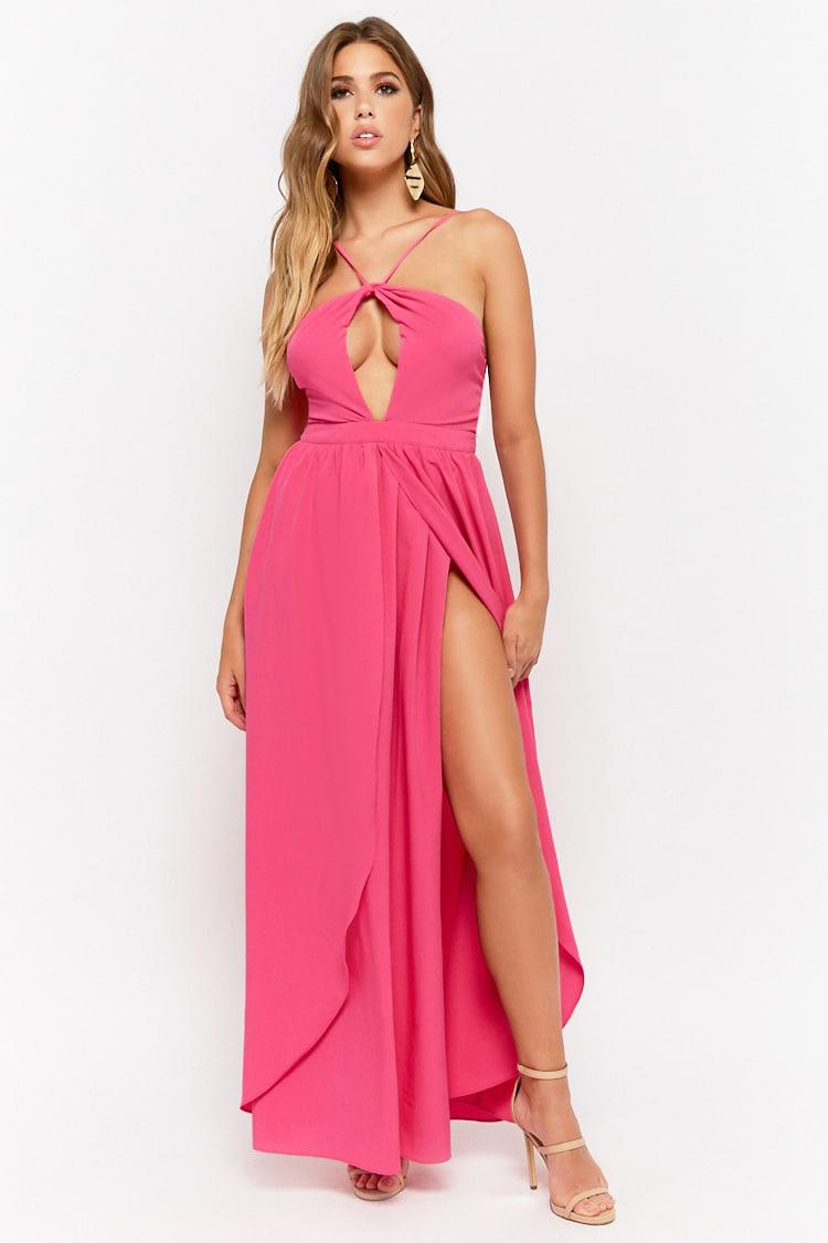 cc8ac9f013 Lyst - Forever 21 Halter Tulip Maxi Dress in Pink