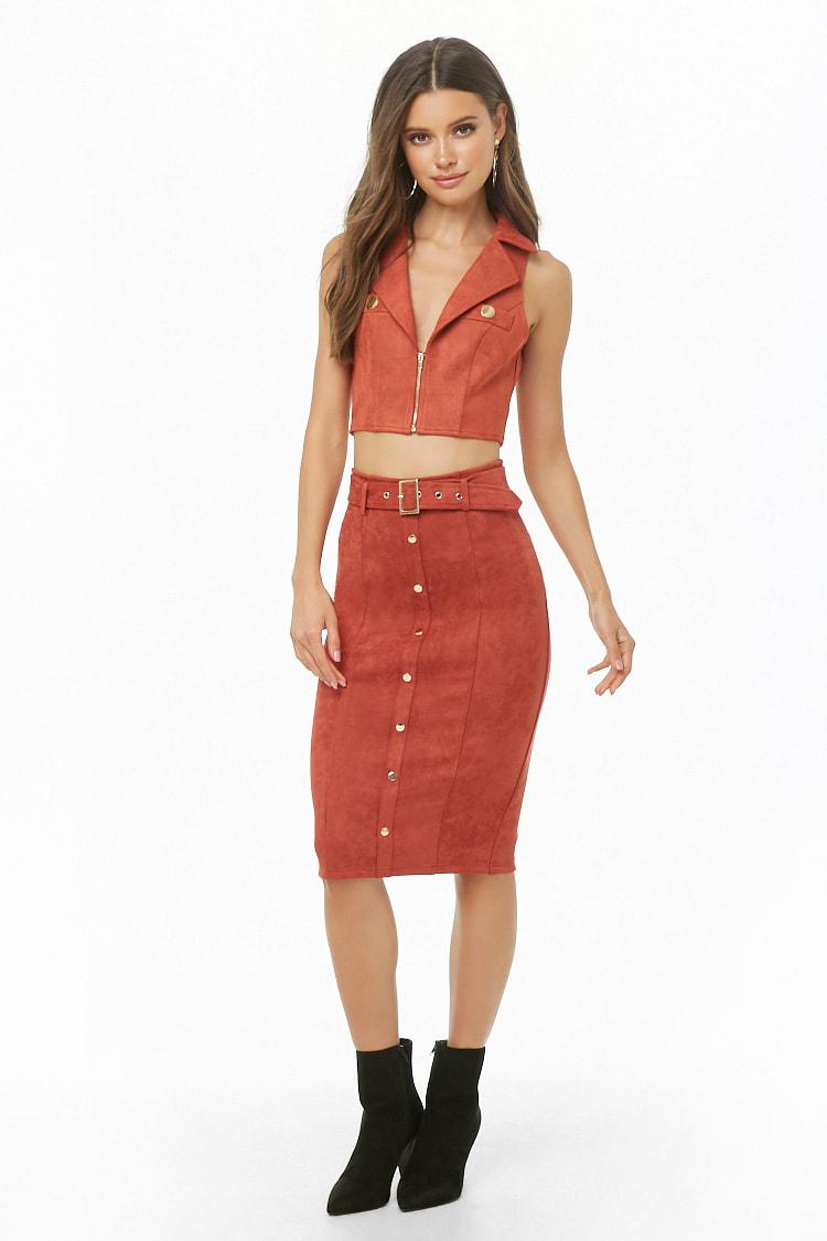 1524521a0a Forever 21 - Red Faux Suede Button-front Pencil Skirt - Lyst. View  fullscreen