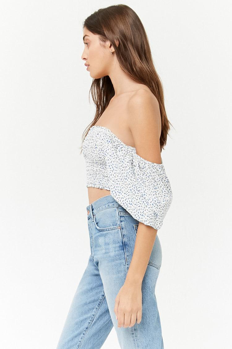 bf71461e4140b7 Lyst - Forever 21 Smocked Ditsy Floral Crop Top in Blue
