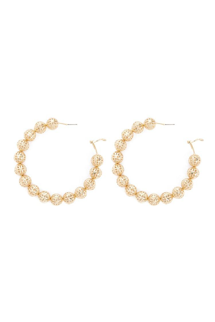 a898997a1c88d Lyst - Forever 21 Bead Hoop Earrings in Metallic