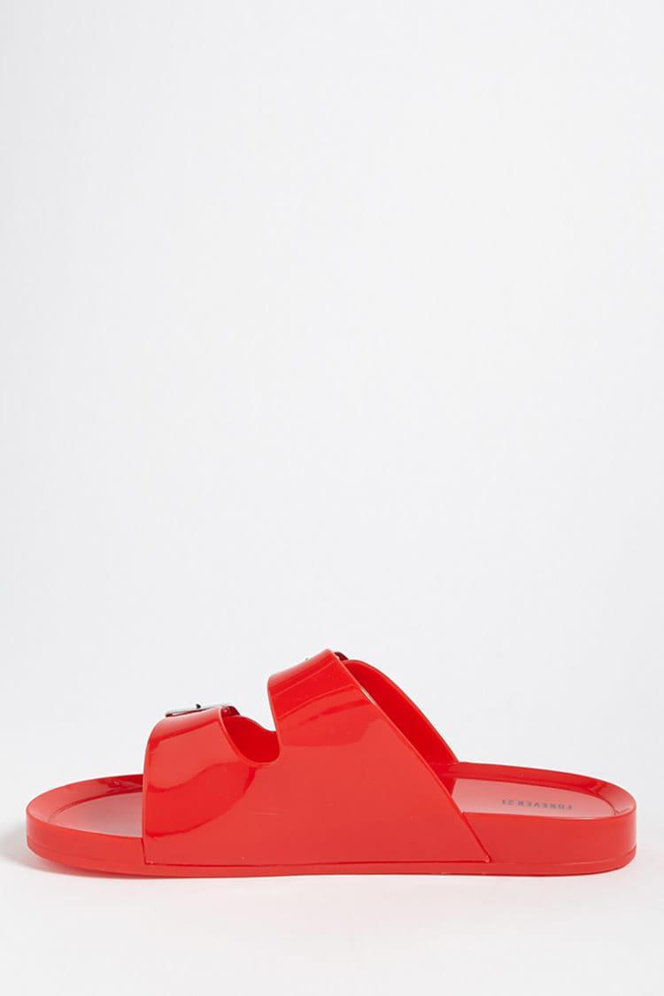 2b054874e Forever 21 - Red Double-strap Jelly Slides - Lyst. View fullscreen