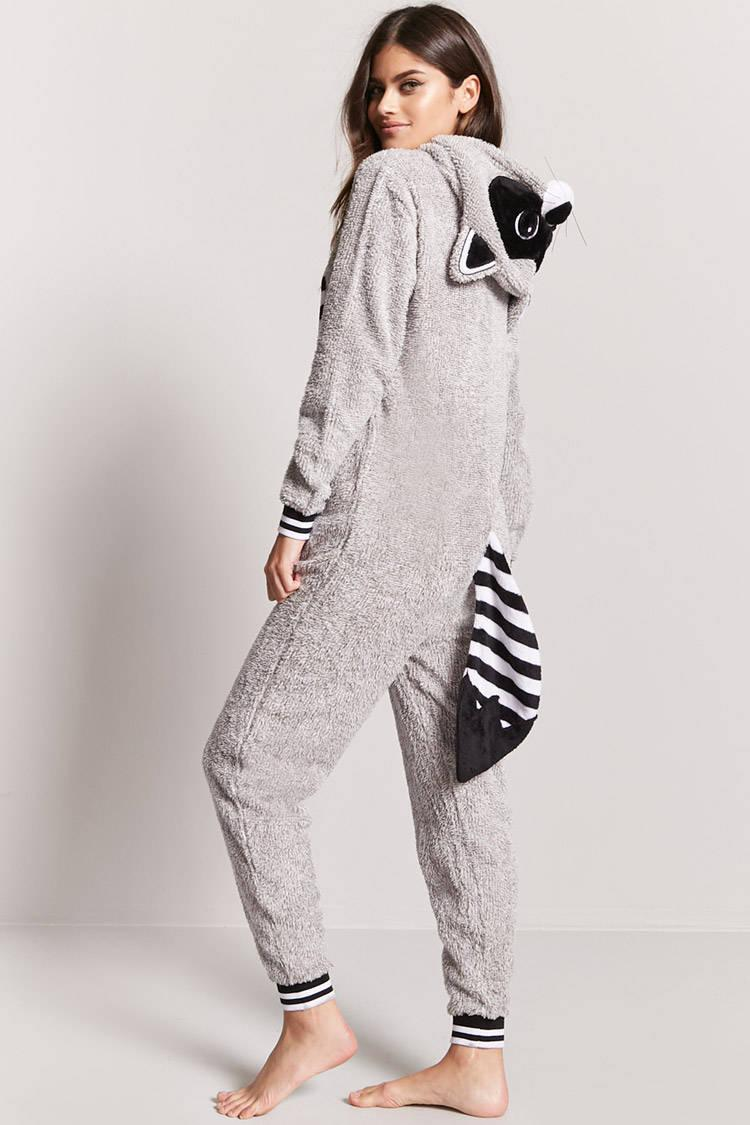 132286a8cd36 Lyst - Forever 21 Plush Raccoon Pajama Onesie in Gray