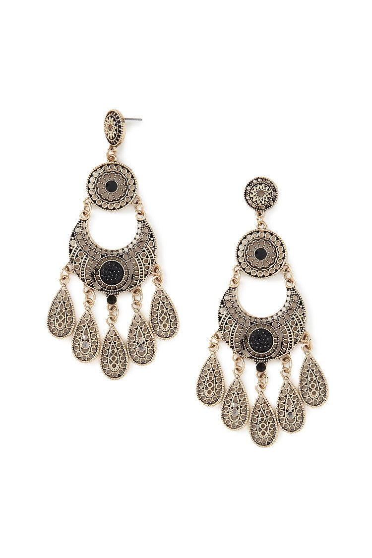 Forever 21 faux stone chandelier earrings in metallic lyst for Forever 21 jewelry earrings