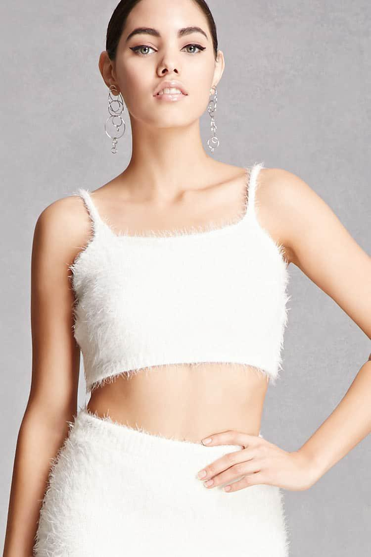 76b2422a87f Forever 21 Fuzzy Knit Scoop Neck Crop Top in White - Lyst