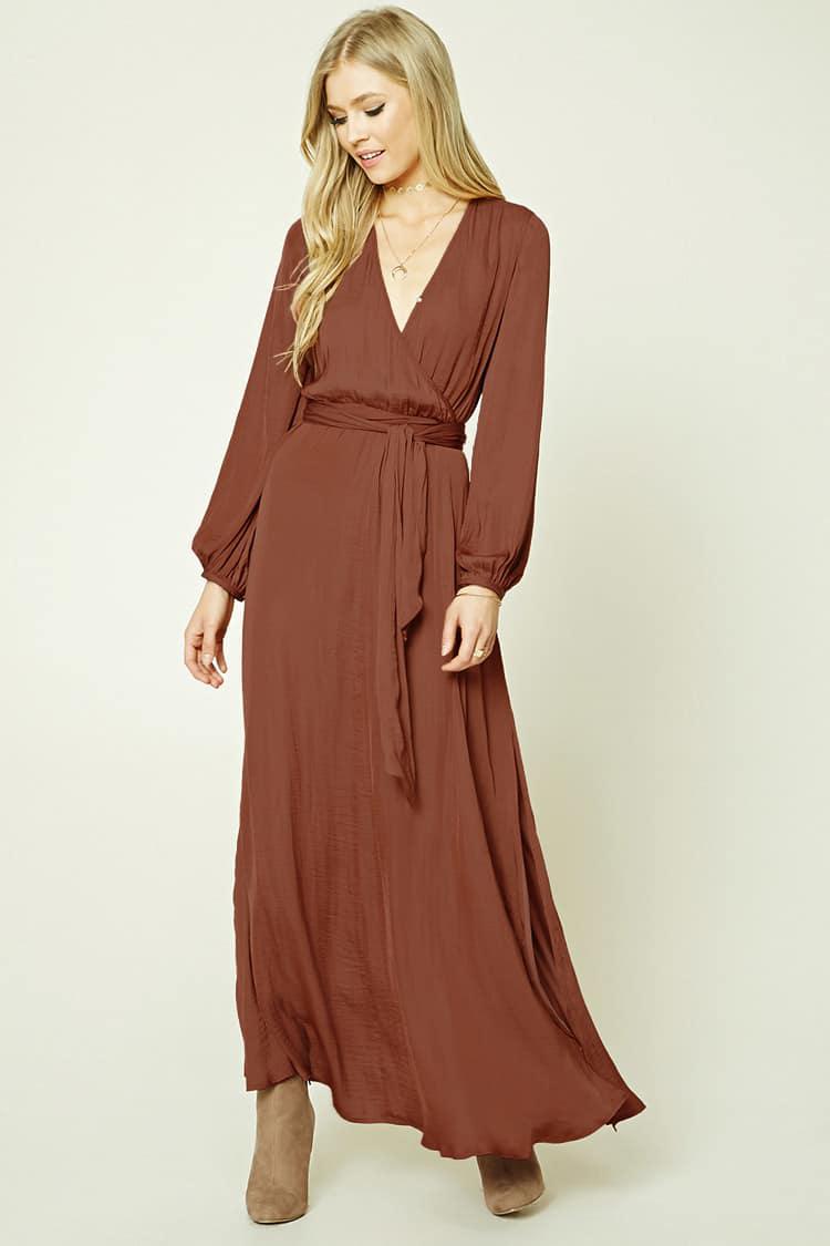 59e58ec13ca Forever 21 Belted Surplice Maxi Dress in Purple - Lyst
