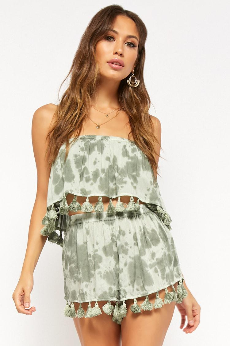 1a6268f864 Lyst - Forever 21 Boho Me Cloud Wash Tassel Shorts in Green