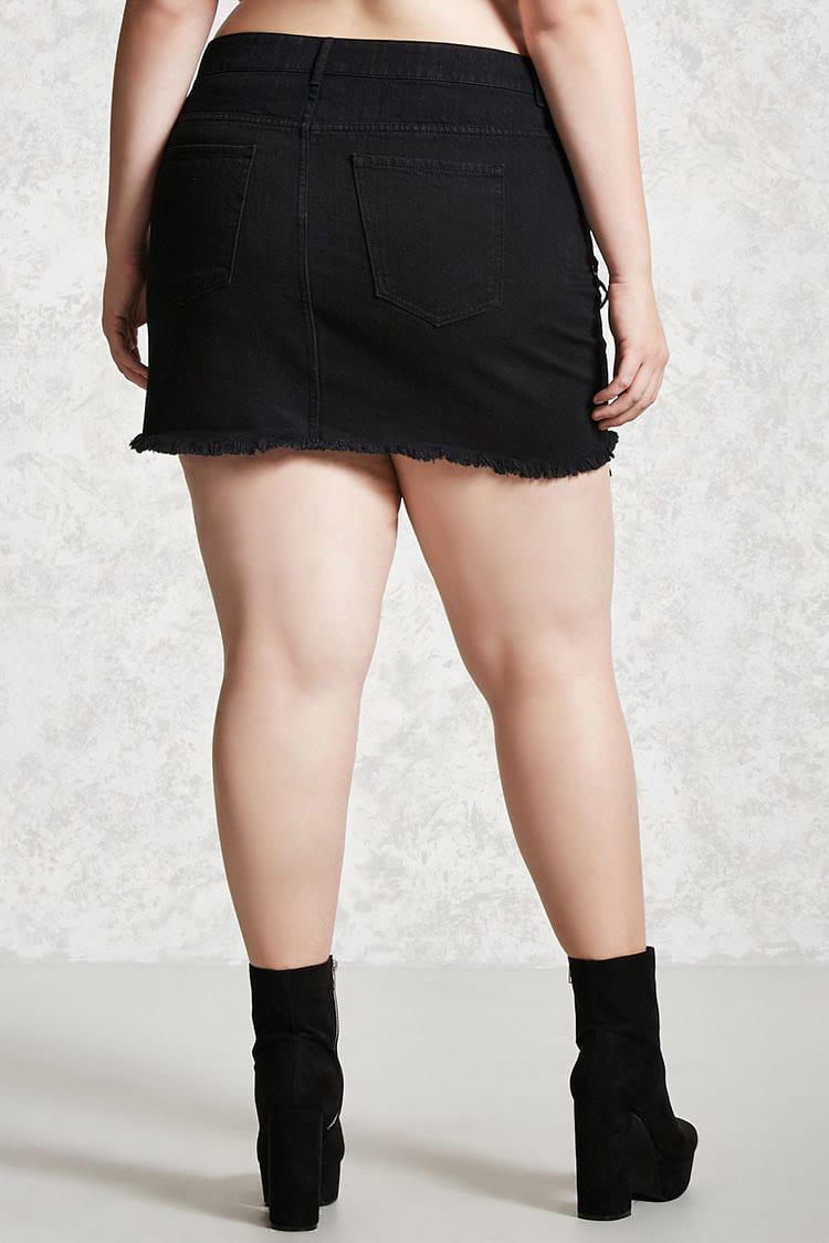 5e6f1135c36 Lyst - Forever 21 Plus Size Lace-up Denim Skirt in Black