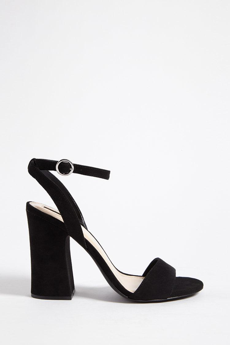 c6888facf32c Lyst - Forever 21 Faux Suede Ankle-strap Heels in Black