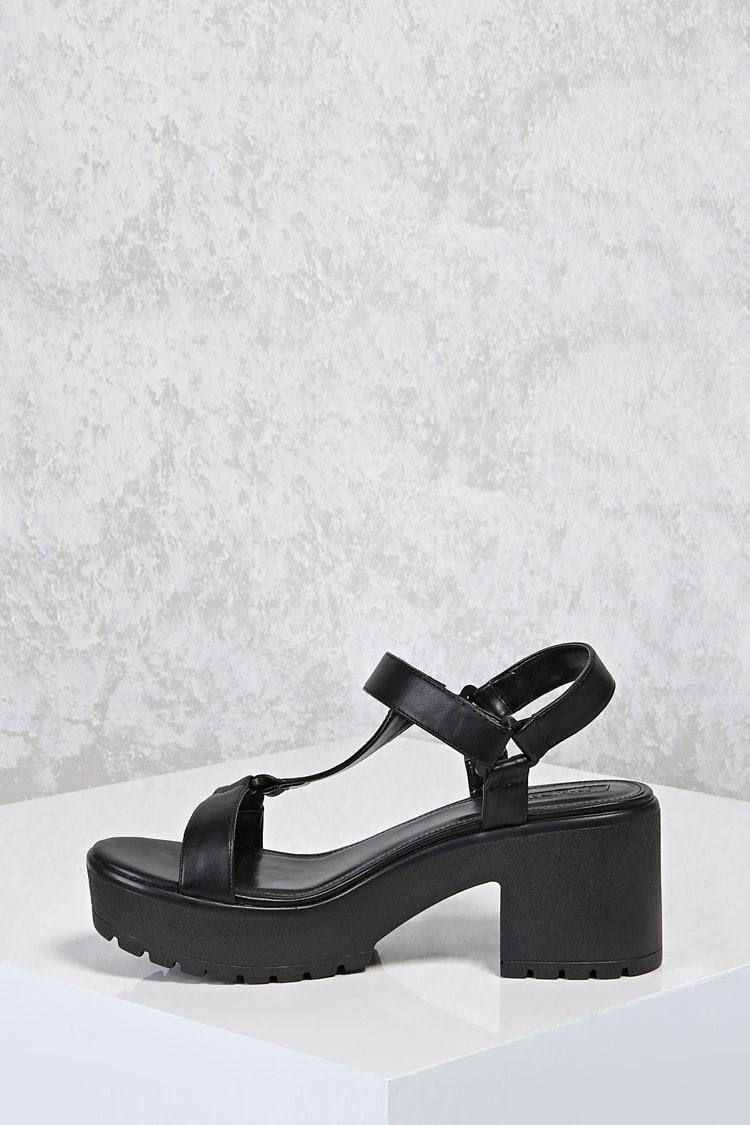 Lyst - Forever 21 Chunky Platform Sandals in Black 418728360d