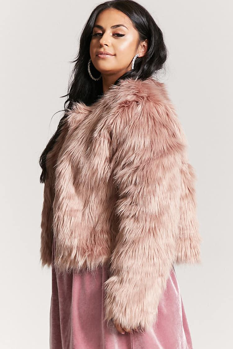 636cf11a94 Forever 21 Plus Size Faux Fur Coat in Pink - Lyst