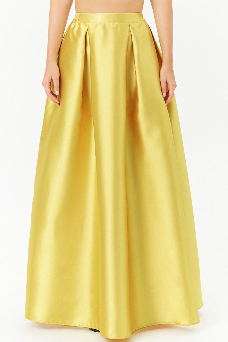 Lyst - Forever 21 Pleated A-line Maxi Skirt in Yellow 45e37dfd7