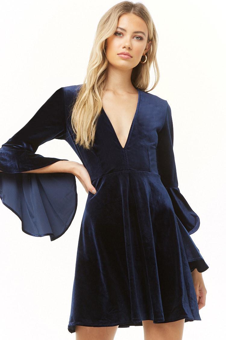 8639b8a8794 Lyst forever velvet angel sleeve dress in blue jpg 750x1125 Velvet angel