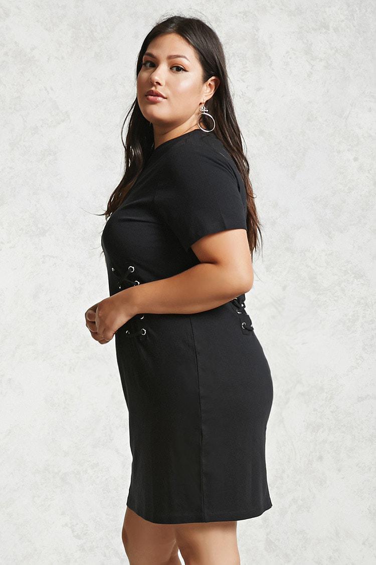dde8138d45b Forever 21 Plus Size Corset T-shirt Dress in Black - Lyst