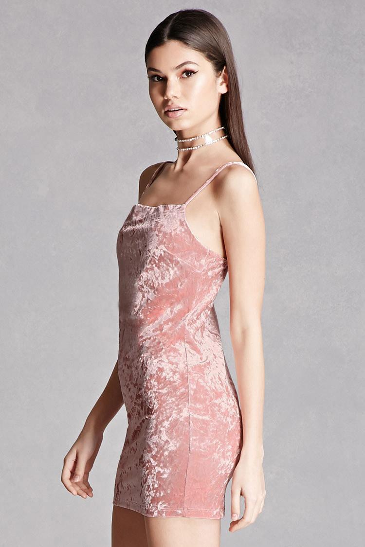 Forever 21 Crushed Velvet Mini Dress In Pink Lyst