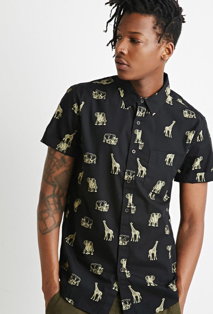 Forever 21 Safari Animal Print Shirt In Black For Men Lyst