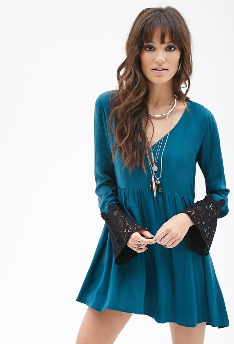 Forever 21 Crochet Sleeve Babydoll Dress In Blue Lyst