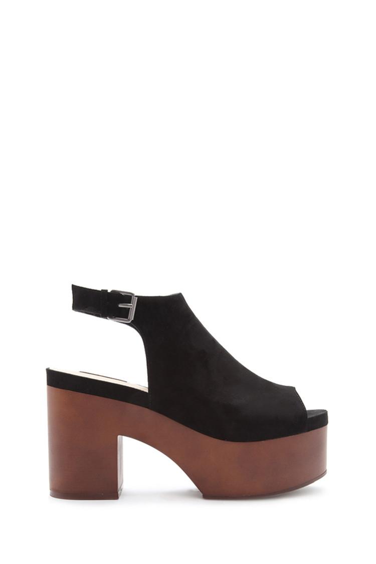 Lyst - Forever 21 Faux Suede Platform Sandals in Black 8802c42b3d