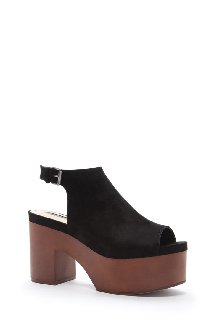 f9db188992d3 Lyst - Forever 21 Faux Suede Platform Sandals in Black