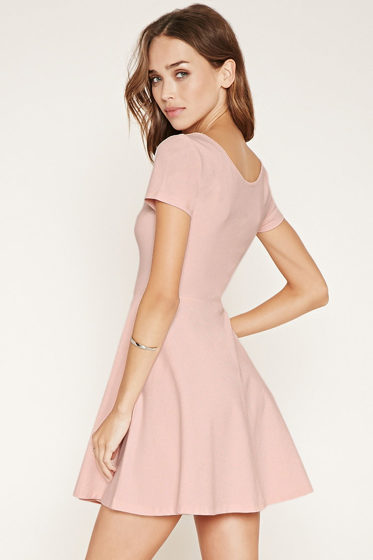 Lyst - Forever 21 Scalloped Skater Dress in Pink - photo #24