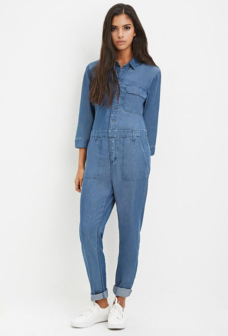 a29f07747a6d Lyst - Forever 21 Button-down Denim Jumpsuit In Blue