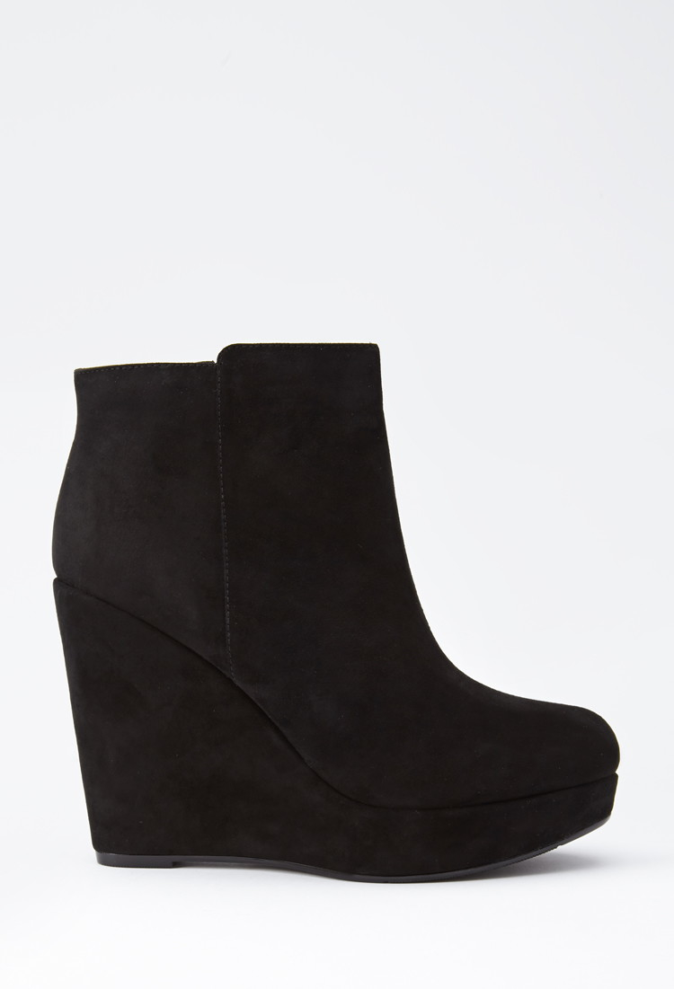 lyst forever 21 faux suede wedge booties in black