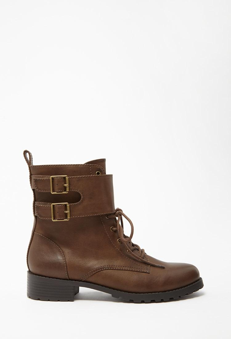 Lyst Forever 21 Buckled Faux Leather Boots In Brown