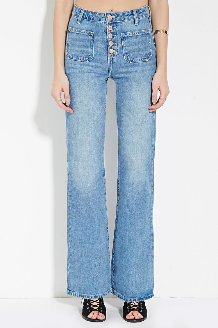 Lyst Forever 21 High Waisted Flare Jeans In Blue
