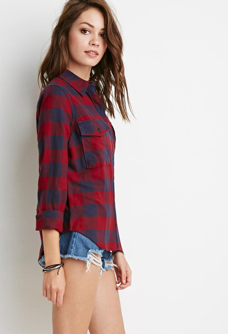 Lyst Forever 21 Buffalo Plaid Flannel Shirt In Blue