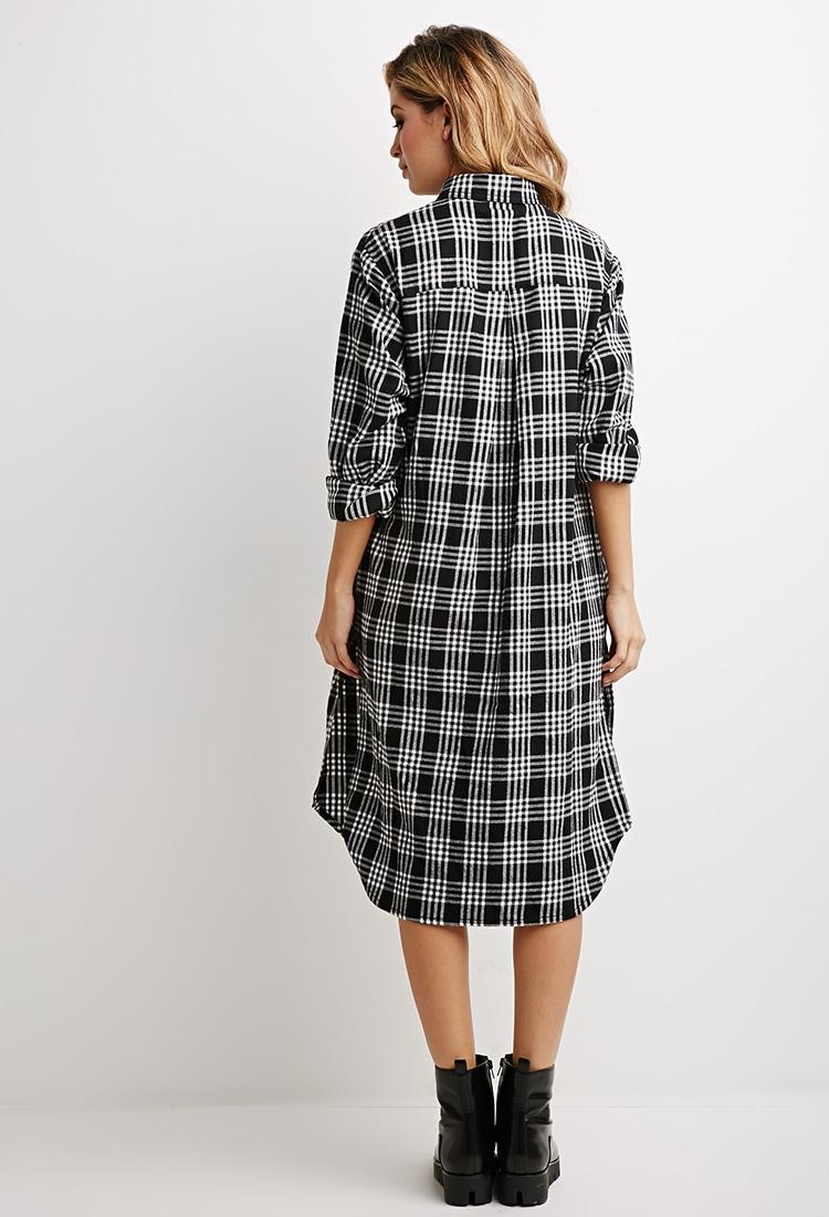 Lyst forever 21 plaid flannel shirt dress in black for Athletic cut flannel shirts