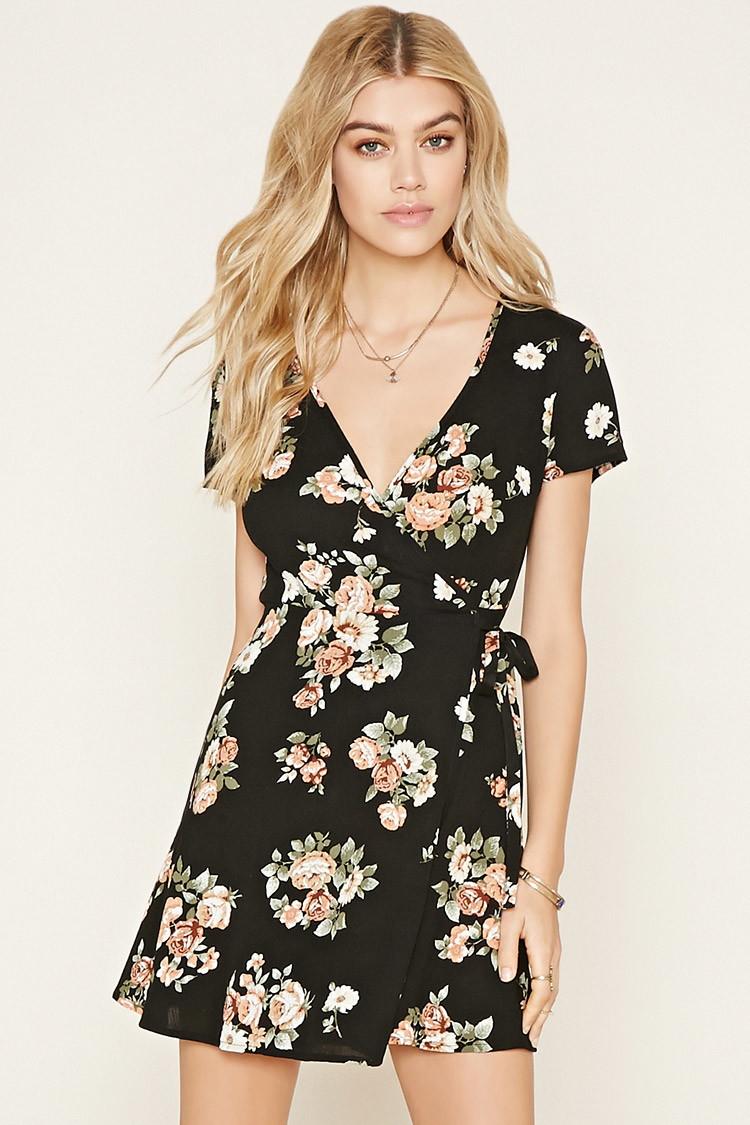 Lyst - Forever 21 Floral Print Wrap Dress in Black fd055866d