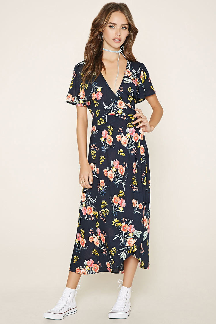 Forever 21 Floral Wrap Dress In Blue Lyst