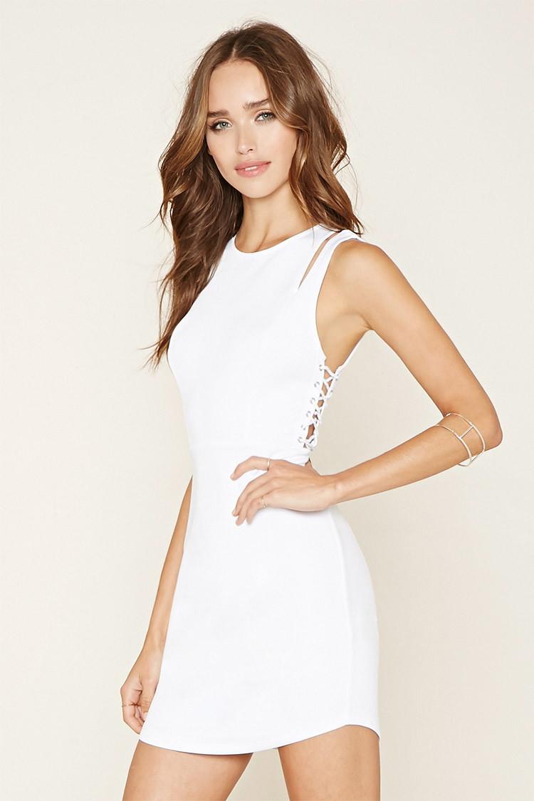 Forever 21 Crisscross Bodycon Dress in White | Lyst - photo #9
